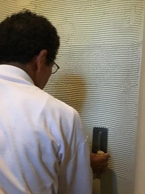 酸性白土塗り壁材深呼吸 (壁施工①)